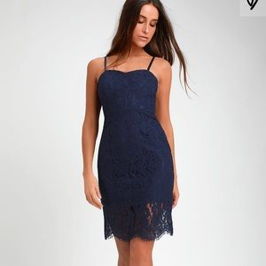 NAVY BLUE LACE BODYCON MIDI DRESS